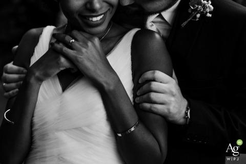 ślub na świeżym powietrzu - norweska fotografia ślubna - portret panny młodej i pana młodego