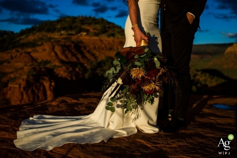 Bridal bouquet in Sedona portrait with bride and groom