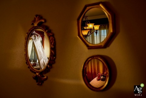 Murcia Wedding Photos| Image contains: mirrors, reflection, wedding dress, detail shot