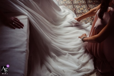 Sicily creative wedding photography | detail of bride's dress train