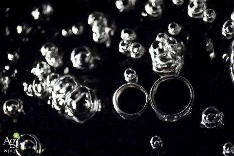 Guangdong Wedding Photographer | Image contains: black and white, detail shot, rings, bubbles