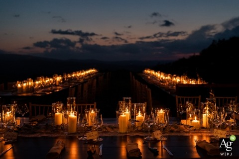 Florence Wedding Photographer | Image contains: detail shot, candles, sunset, banquet tables