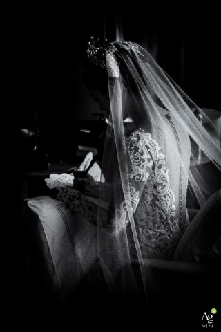 Fuzhou Wedding Photojournalism | Image contains: veil, gown, black and white, bridal portrait, lace, profile shot