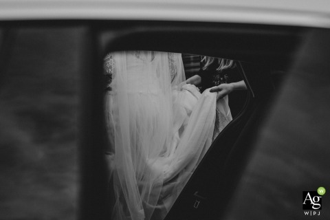 Slovakia Wedding Photographers | Image contains: mirror, reflection, black and white, veil, detail shot