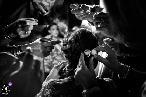 Greece artistic creative photography detail of bride's hair witih multiple fingers pointing