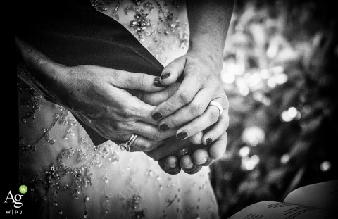 La Spezia wedding photography | Image contains: detail shot, rings, black and white, hands, dress