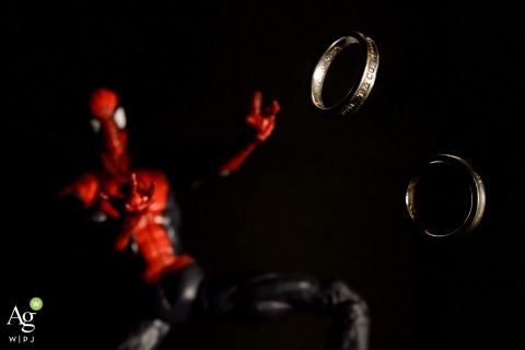 Taipei wedding photography | Image contains: detail shot, rings, Spiderman