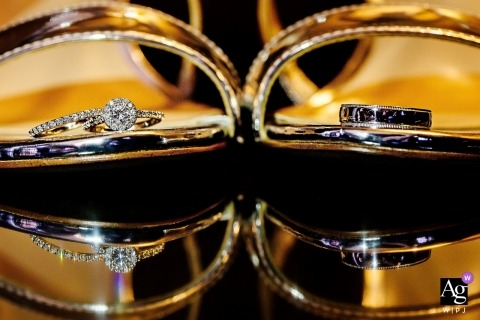Riviera Maya creative wedding photography | detail of rings inside the bride's shoes