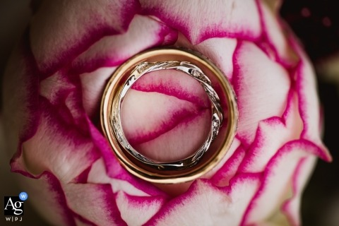 Dorset pictures by a creative wedding photographer | detail of rings on flower