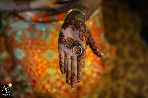 Sri Lanka artistic creative photography detail of rings on bride's hands with henna