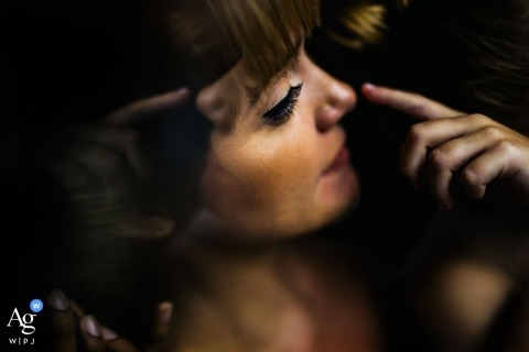 Sri Lanka artistic creative photography detail of bride getting makeup applied