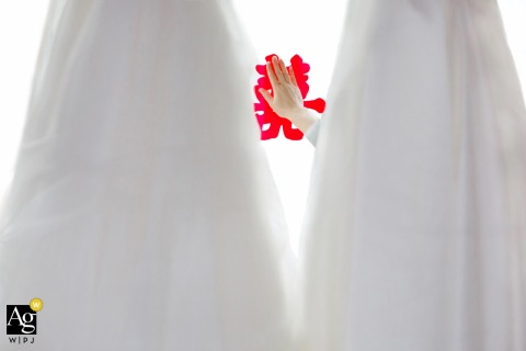 De Zhou wedding detail image of hand reaching through dresses