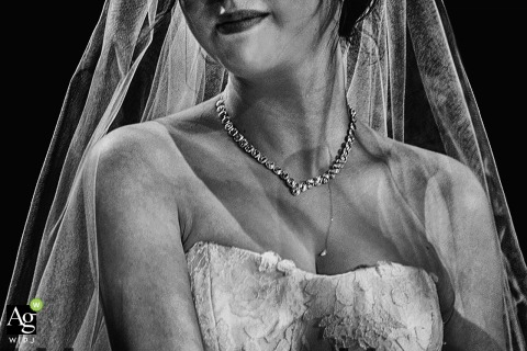 Shandong Fine Art Wedding Photography | Image contains: bride, detail shot, necklace, veil, dress, lace, black and white