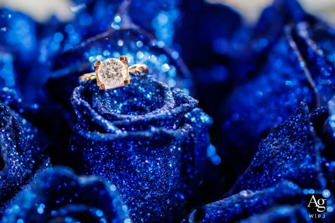 Shandong creative wedding photography | detail of wedding ring on blue painted flowers