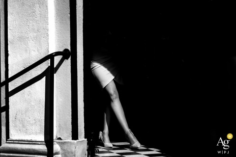 Budapest artistic creative photography detail of a woman's legs in the sunlight, black and white