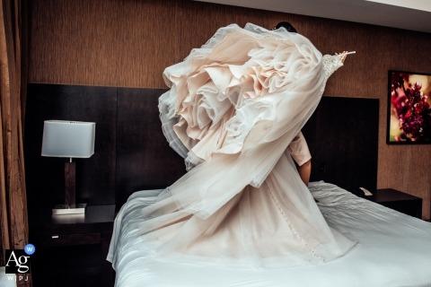 Edmonton creative wedding photography | detail of bride's dress