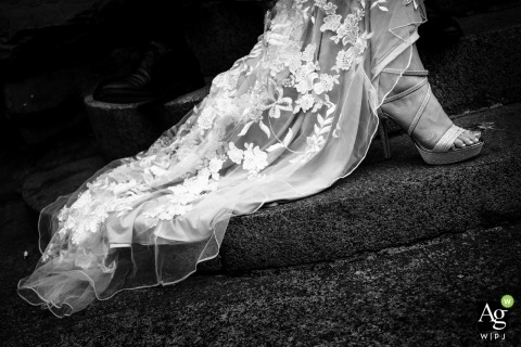 Seattle Artistic Wedding Photography | Image contains: bride, detail shot, shoes, street, dress, lace, sandals, steps, black and white