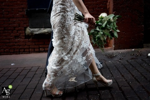 Seattle Fine Art Wedding Photographer | Image contains: bride, groom, detail shot, shoes, flowers, street, dress, lace