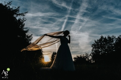 Hesse Wedding Photographer | Image contains: bride, silhouette, portrait, sunset, clouds, veil, trees, outdoors