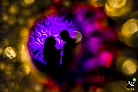 Utrecht Artistic Wedding Photography | Image contains: bride, groom, portrait, drinks, colored lights