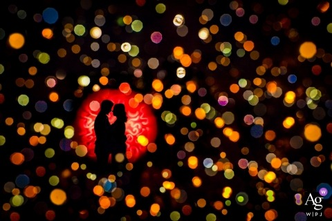 creative bokeh wedding day portrait session with a Netherlands bride and groom