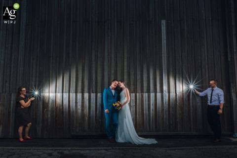 Lima Wedding Photography | Image contains: bride, groom, portrait, bouquet, industrial