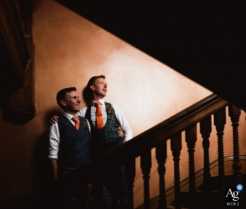 artistic wedding pictures of a Dorset couple indoors on the stairs