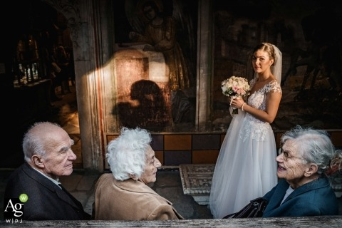 Sofia, Bulgaria wedding portrait of beautiful bride with family