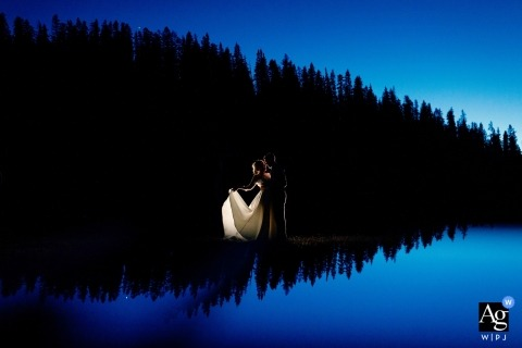 Colorado Mountain Photographer | Blue hour portrait with bride and groom