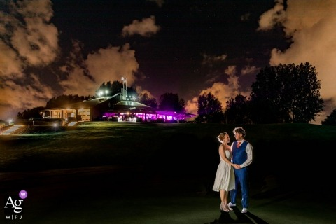 wedding photography portrait of a Dutch bride and groom outside at night
