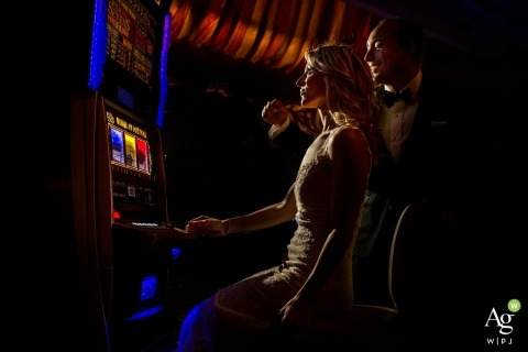 Casino portrait photo session with bride and groom in Italy