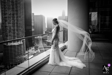 Chicago artistic wedding photo during a solo portrait session overlooking the city