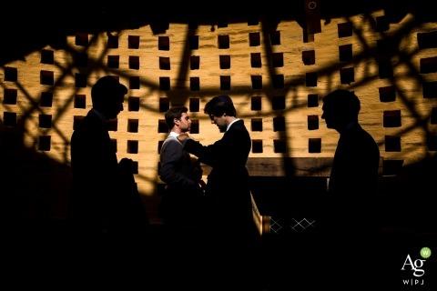 wedding photography portrait of Paris groom and groomsmen in sunlight