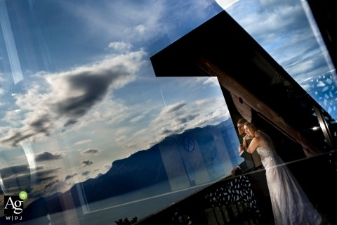 Lausanne portrait photo shoot session with bride and groom with reflections in Switzerland