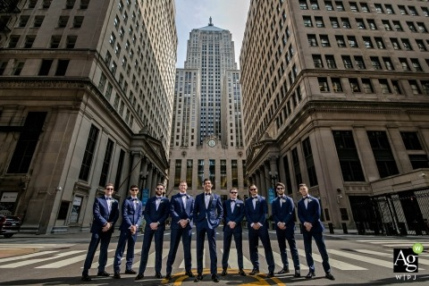 Chicago creative wedding portrait photography of groom with groomsmen