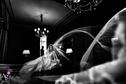 Wedding at the hotel Grande Bretagne in Greece | the bride and her flowing veil