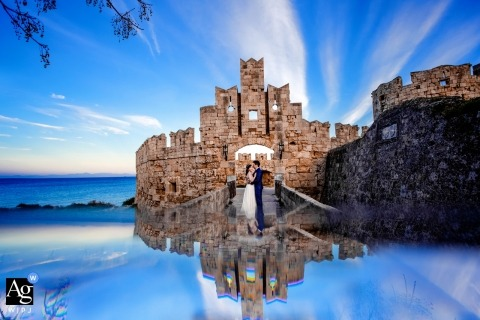 Castle portrait on wedding day in Rhodes, Greece