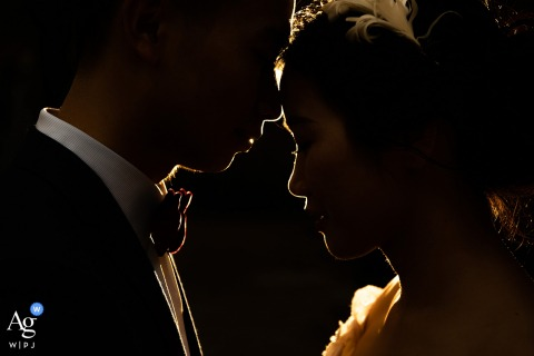 Sanming wedding portrait of the bride and groom with rim light