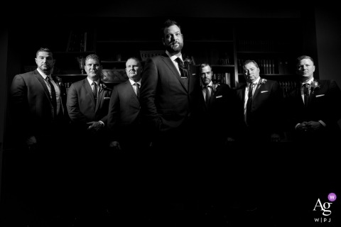 Greenville, South Carolina wedding photographer | before the ceremony | Dramatic groomsmen group wedding photo