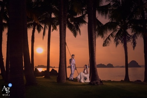 Sunset wedding couple portriat with palm trees, by London Wedding Photographer