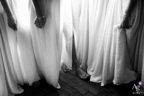 PACA France artistic wedding photo detail of bridesmaids dresses