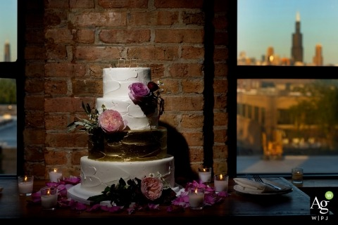 Chicago artistic creative photography detail of cake at reception with city backdrop