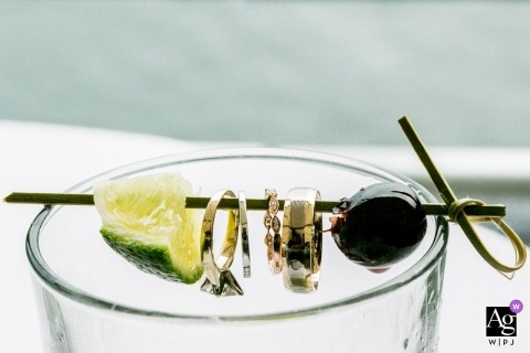 Artistic Creative Wedding detail photo with rings, lime and olive in Seattle Eastern Washington