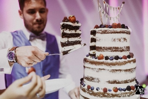 naked Cake with groom and a huge slice of cake