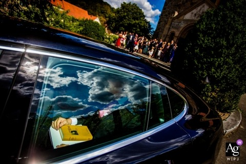 Hesse Germany artistic creative photography detail of groom in car
