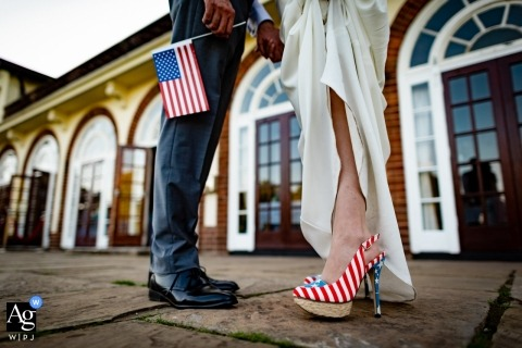 West Midlands artistic wedding photographer | bride and groom, American flag
