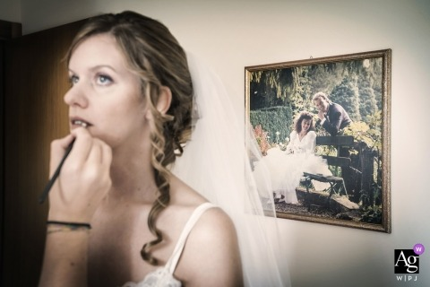 Venice artistic creative photography detail of bride getting ready with picture of parents in background