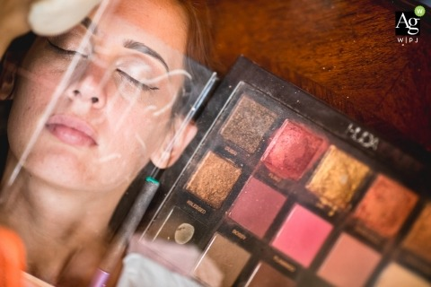 Paris artistic wedding photography details of makeup