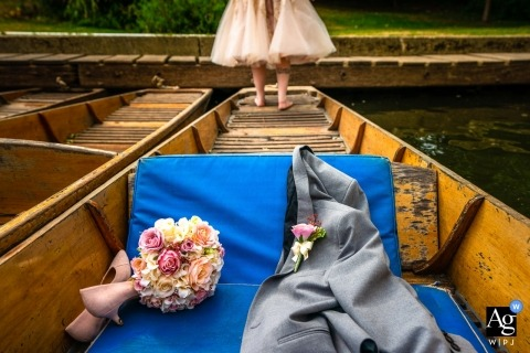 Oxford Punting creative wedding photography | detail of bride, flowers, shoes and groom's coat