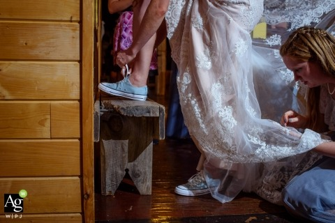 Omaha pictures by a creative wedding photographer | detail of bride's dancing shoes